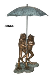 Two Frogs Under an Umbrella - Spillover Fountain - Fall / Winter Clearance
