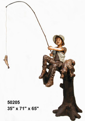 Boy Fishing from a Tree with His Dog