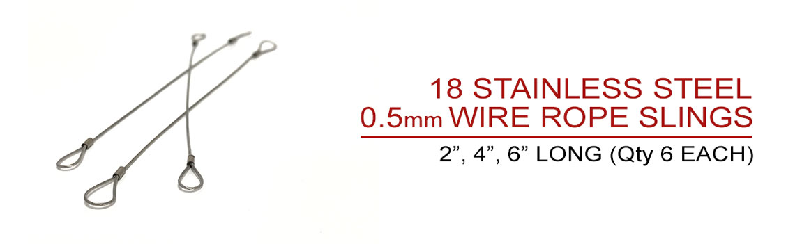 Includes 18 Stainless steel wire rope slings