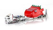 1:50 diecast scale model of Kenworth K200 with Drake 2x8 Dolly and Drake 4x8 Bucket Trailer-White
