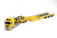 1:50 diecast scale model of Kenworth K200 and Drake 3x8 Swingwing Low Loader in Chrome Yellow