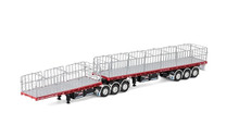 1:50 diecast scale model of MaxiTRANS Freighter B Double Flat Top Trailer Set in NHH livery