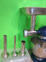 Smokehouse Chef Stainless Steel meat grinder attachment for Kitchenaid stand mixers.