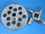 "#22 x 1/2"" w/ HUB S/S Meat Grinder Plate & KNIFE for Hobart Weston LEM Cabelas"