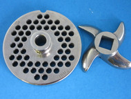 "#22 x 1/4"" w/ HUB S/S Meat Grinder Plate & KNIFE for Hobart Weston LEM Cabelas"