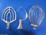 3 PC SET 10 Quart Bakery Mixer Dough Hook Wire Whip & Beater for Hobart c100