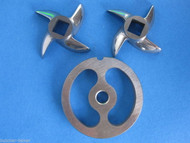 #12 Stainless Meat Grinder Sausage Stuffing Stuffer Kidney Plate & 2 Knives