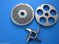 """3-pc #12 Meat Grinder plate disc knife 1/8"""" & 3/4"""" SET Hobart LEM Cabelas etc"""