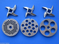 6 pc SET Meat Grinder Disc 3 Plates 3 Knifes Hobart etc