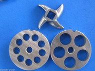 "3-pc #12 Meat Grinder plate knife 1/2"" & 3/4"" COMBO SET Hobart LEM Cabelas etc"