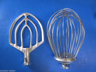 2 PC SET 12 Quart Bakery Mixer Wire Whip Whisk& Flat Beater for Hobart A120 125