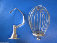 2 PC SET 12 Quart Bakery Mixer Dough Hook & Wire Whip for Hobart A120 125