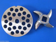 "#22 x 3/8"" hole STAINLESS Meat Grinding Grinder Plate disc & Cutter Knife"