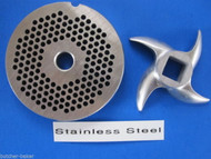 "#12 x 1/8"" PLATE & SWIRL KNIFE S/S Meat Grinder SET"