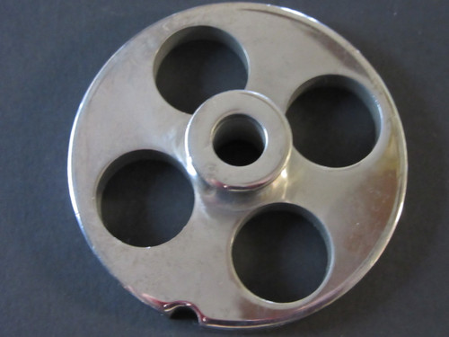 "#12 x 3/4"" holes.  Stainless steel meat grinder plate"