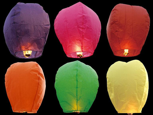 6 Pack  Random Color Sky Lanterns