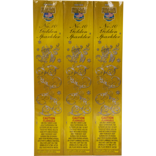 """10"""" gold sparklers with a bamboo wood handle. Each sparkler emits color sparks for approximately 30 seconds. Gold sparklers emit less smoke and are less flare like. Bamboo stick will not get hot like metal sparklers making it the safest of all sparklers."""