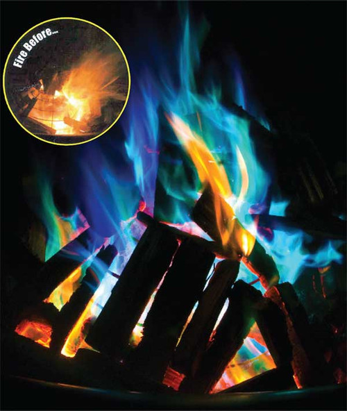 Add some color to your campfire.  Simply toss into any wood burning fire and watch the flames changes to Greens and Blues.