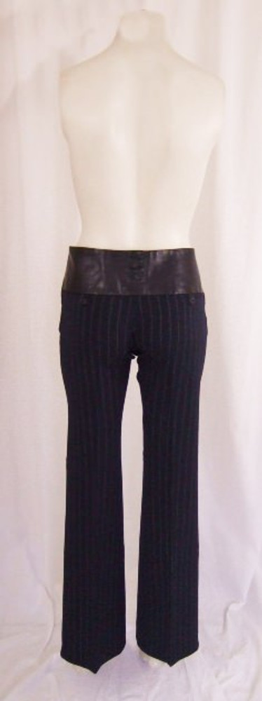 Alvin Valley blue pinstripe slacks with wide leather waist band
