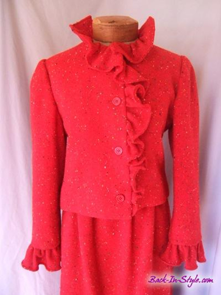 Bill Blass Red Speckled Wool Skirt Suit With Ruffle Trim