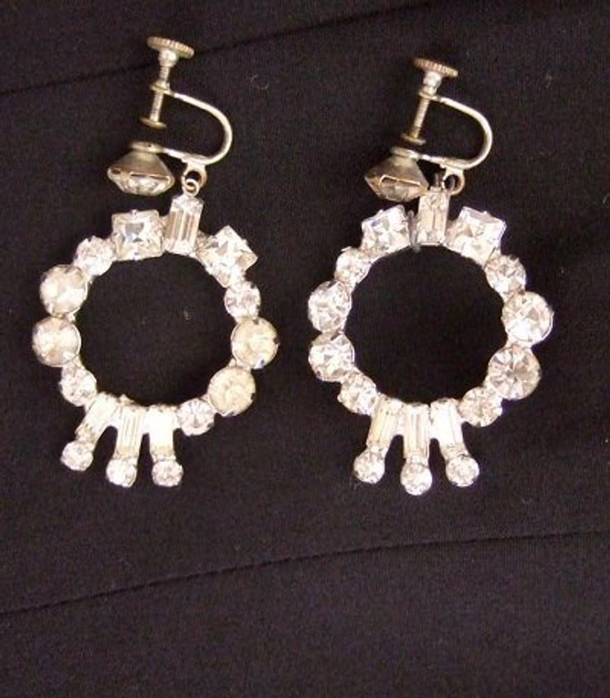 Vintage Rhinestone Dangle Ear Clips