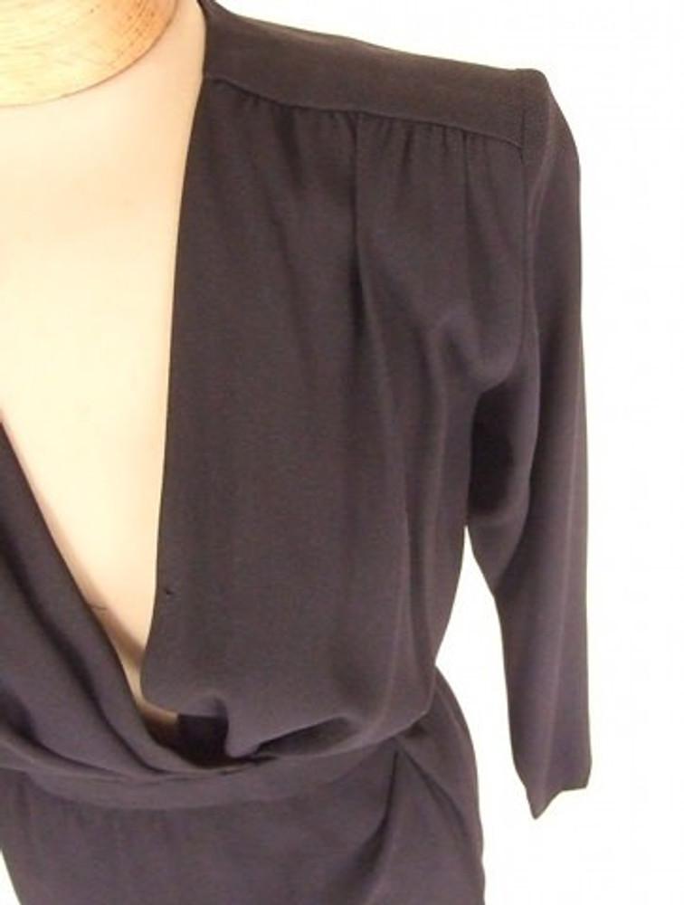 Yves Saint Laurent Black Crepe Wrap Dress