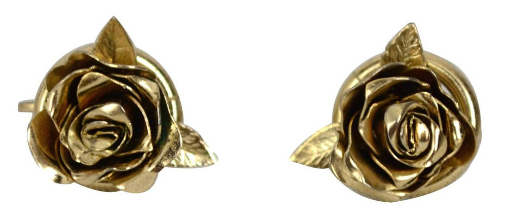 Vintage Gold Tone Delicate Rose Earrings