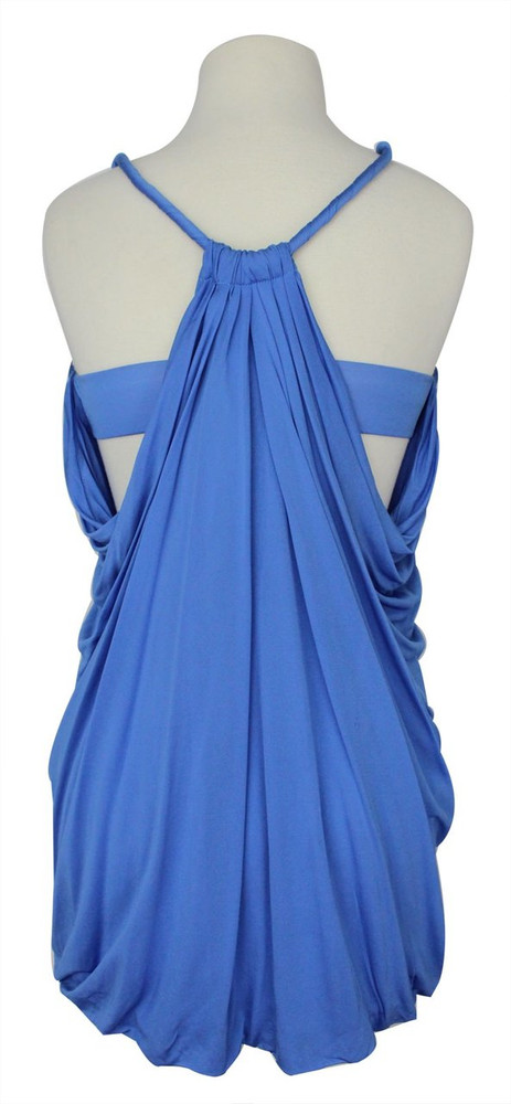 Yigal Azrouel Blue Draped Halter Top New! 1