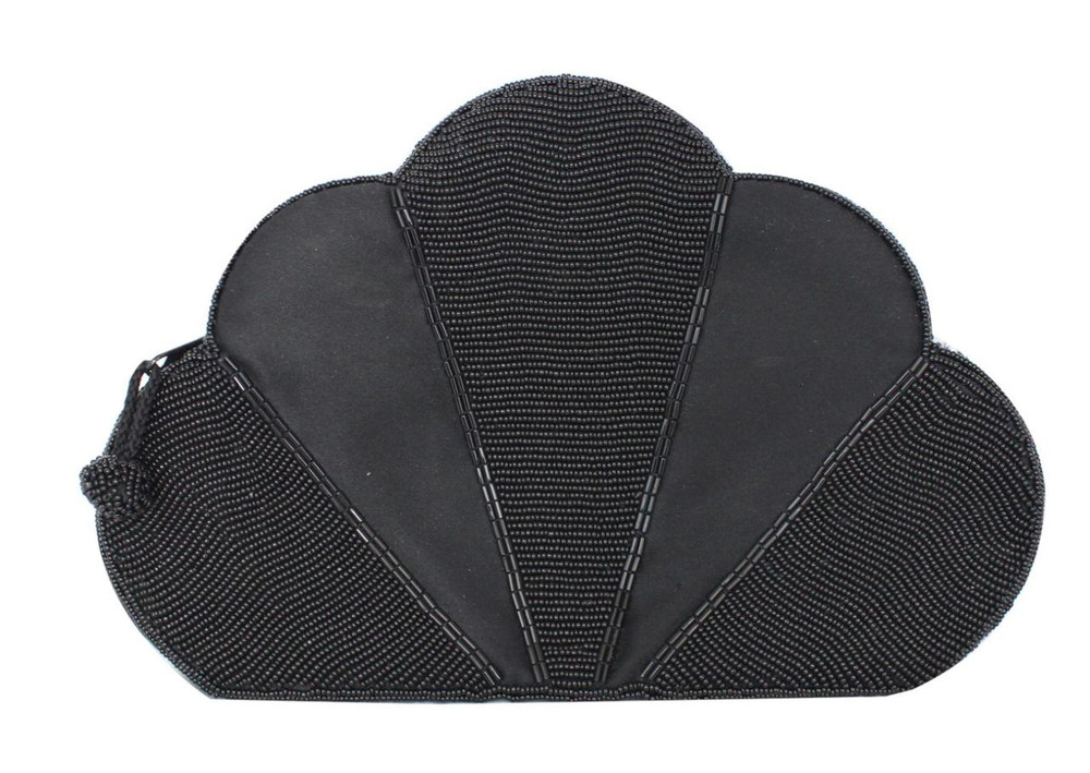 Vintage 1980s Black Sequined Fan Clutch