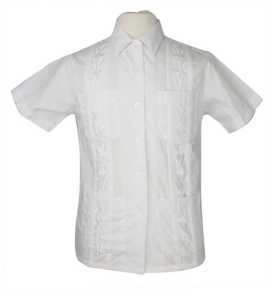 Vintage White Guayabera Embroidered Shirt