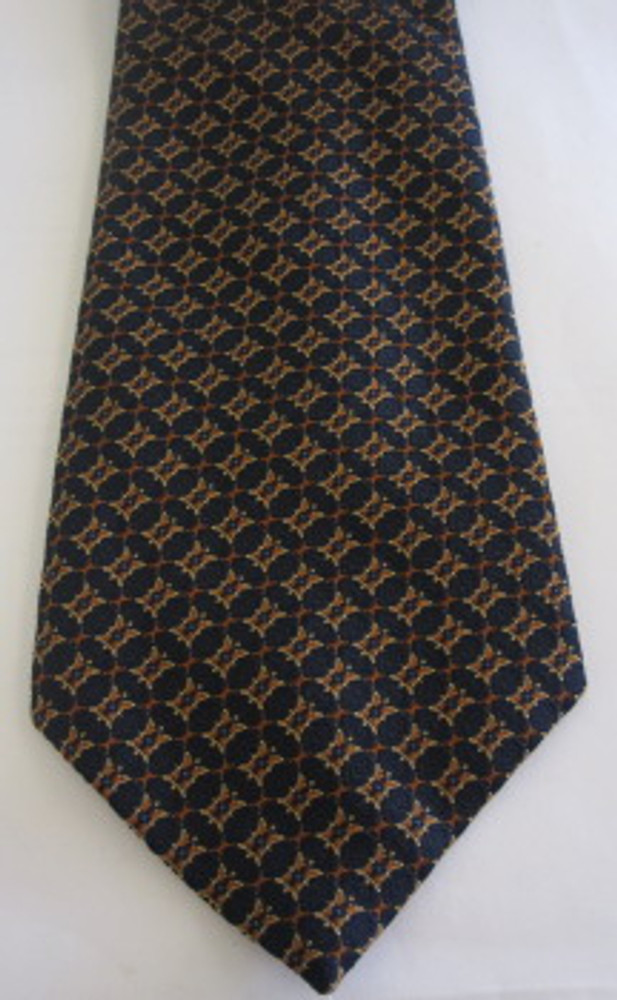 Christian Dior navy blue & orange brocade vintage wide polyester tie
