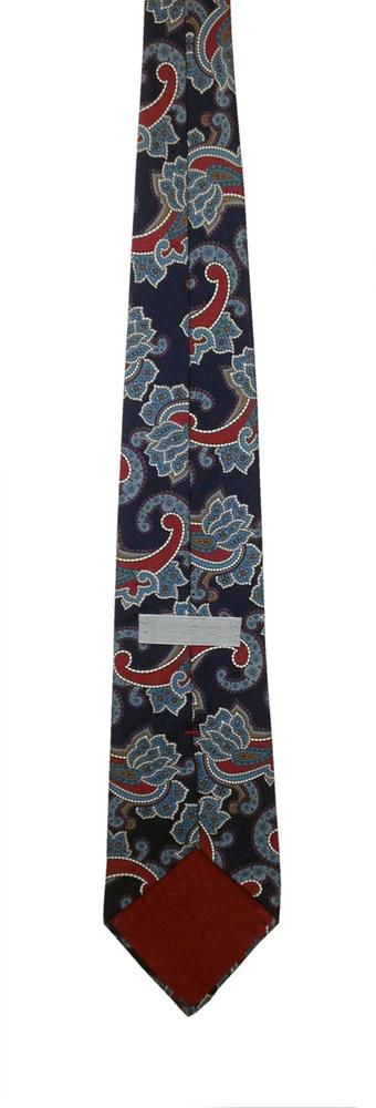 Vintage 1980s Halston Navy Blue Paisley Tie
