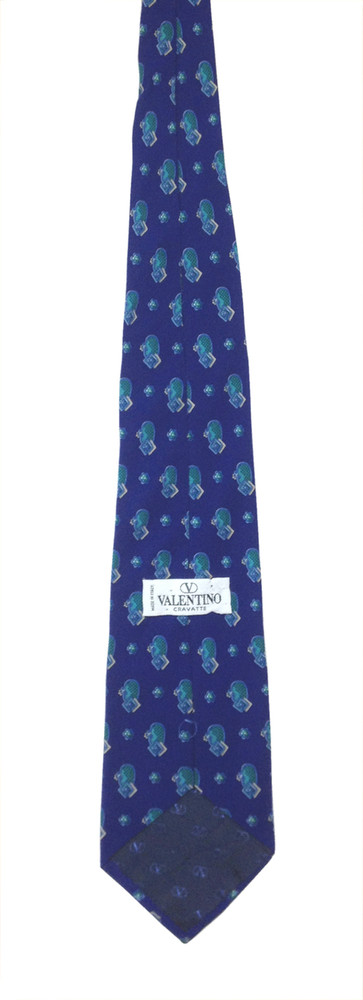 Valentino Cravatte Royal Blue Silk Tie With Floral Pattern