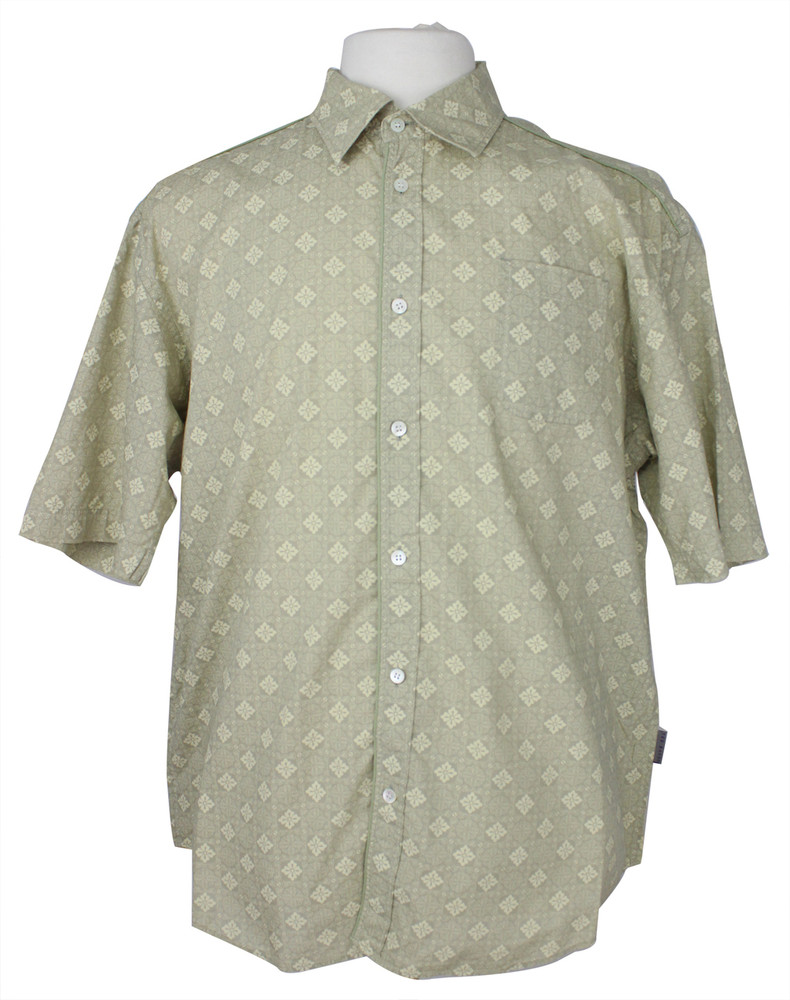 Ted Baker Khaki & Tan Print Short Sleeve Shirt