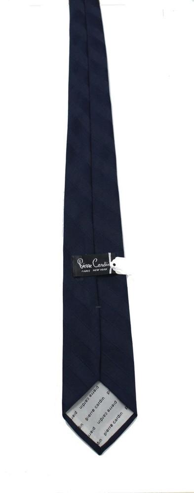 Vintage Pierre Cardin Navy Blue Striped Tie with Logo Tip