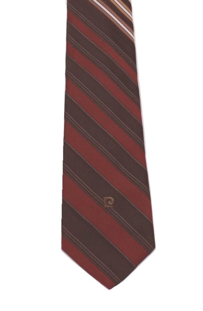 Vintage Pierre Cardin 1970s Brown Striped Silk Tie