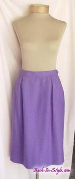 Yves Saint Laurent Purple Herringbone Skirt Suit