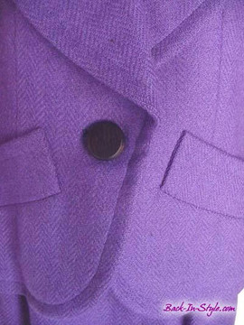 Yves Saint Laurent Purple Herringbone Skirt Suit