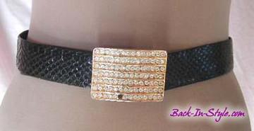 Black Snakeskin Belt with Gold Rhinestone Buckle