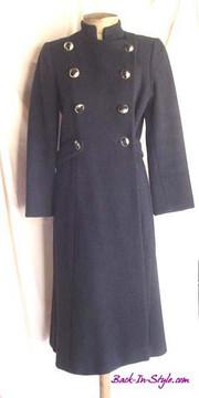 Pauline Trigere Navy Blue Wool Military Coat