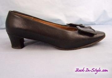 Rinaldi Black Pilgrim Square Buckle Heels