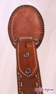 Brown leather western belt with removeable buckle