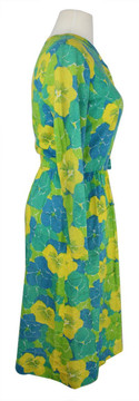 Vintage Lilly Pulitzer 1960s Green & Yellow Jersey Shirtdress
