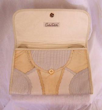 Carlos Falchi vintage gray & beige snake skin clutch