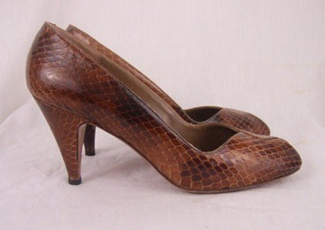 Evan Picone Brown Snakeskin Peep Toe Pumps