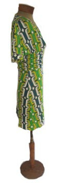 T-Bags Green Link Pattern Dress