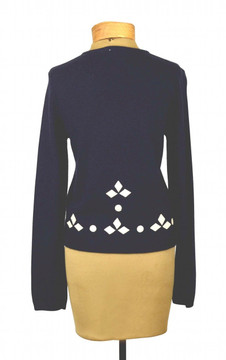 HWR Anthropologie Navy Blue Cardigan Sweater with White Leather Applique Trim