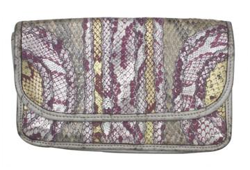 Carlos Falchi Pink & Silver Metallic Snake Skin Clutch 1