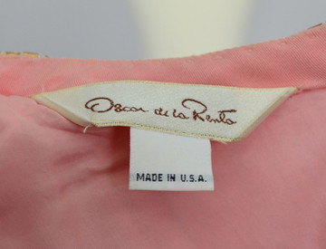 Vintage Oscar De La Renta Peach Sequined Dress