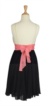 Milly Cream & Black Colorblock Silk Party Dress